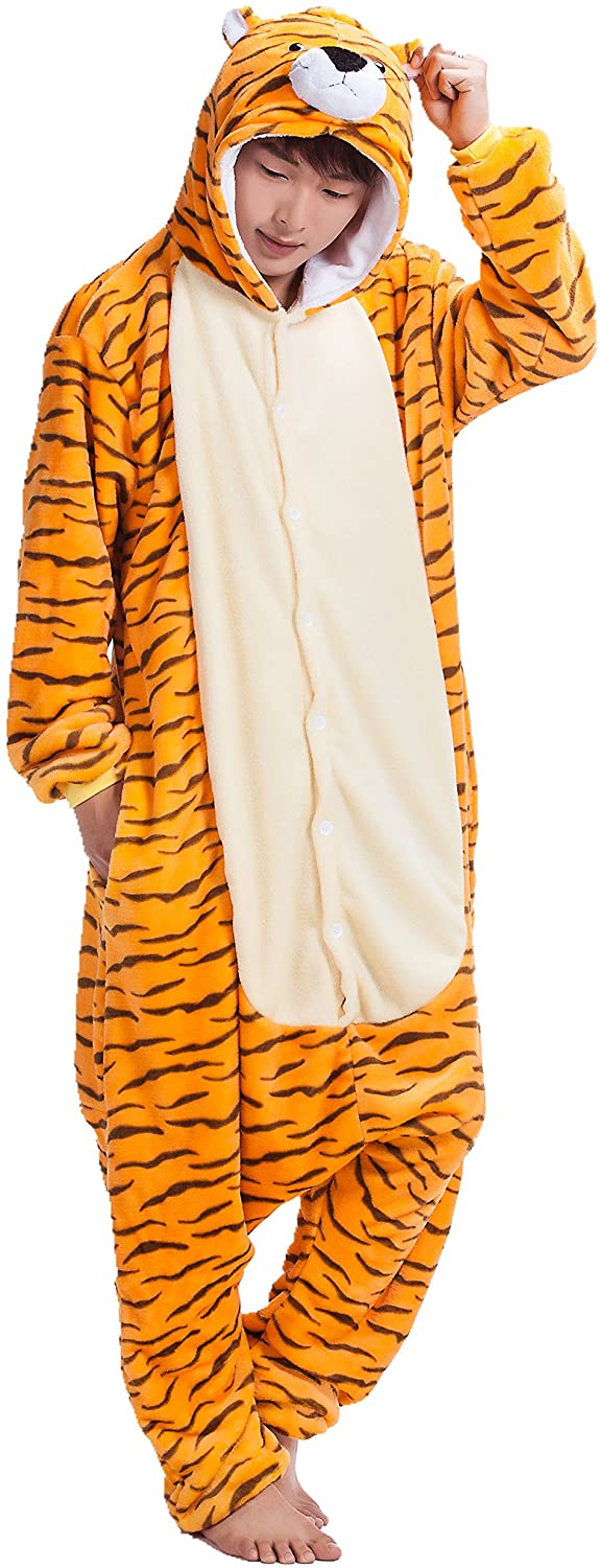 Adult Tiger One Piece Pajamas Kigurumi Hoodie Jumpsuit Playsuit