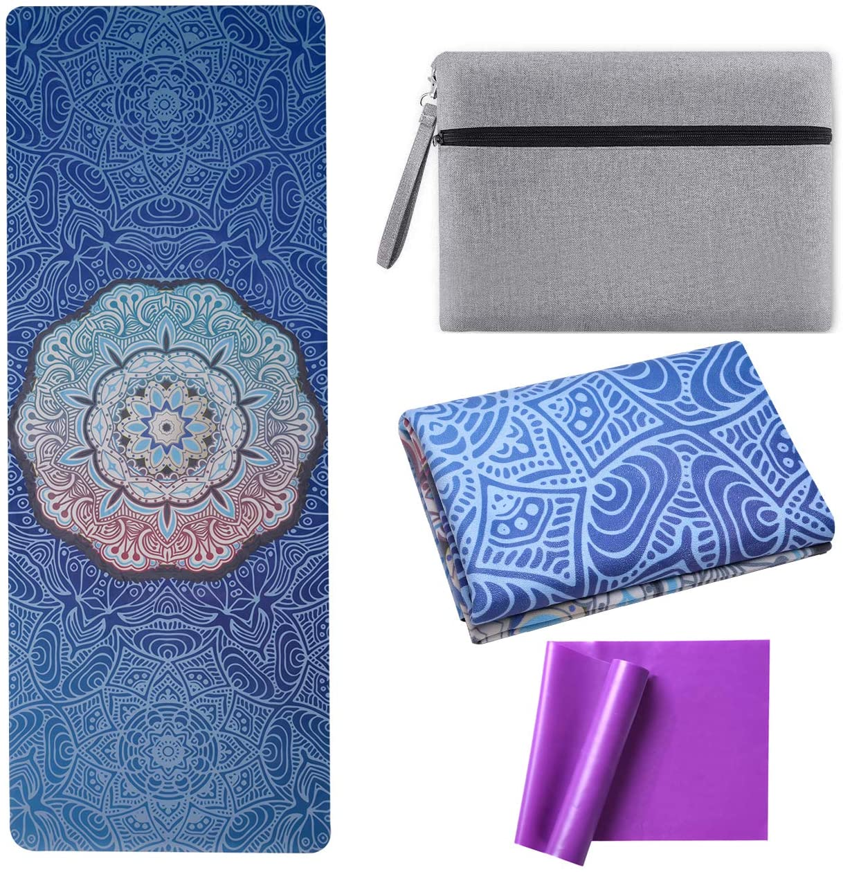 OPLIY Yoga Mat with Yoga Strap,Foldable Yoga Mat 1/16 Inch Thick Non-Slip Yoga Exercise Mat Sweat Absorbent High-Grade Natural Suede for Travel,Coming with Carrying Bag