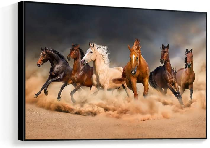 NWT Framed Canvas Wall Art for Living Room, Bedroom Horse Canvas Prints for Home Decoration Ready to Hanging - 24