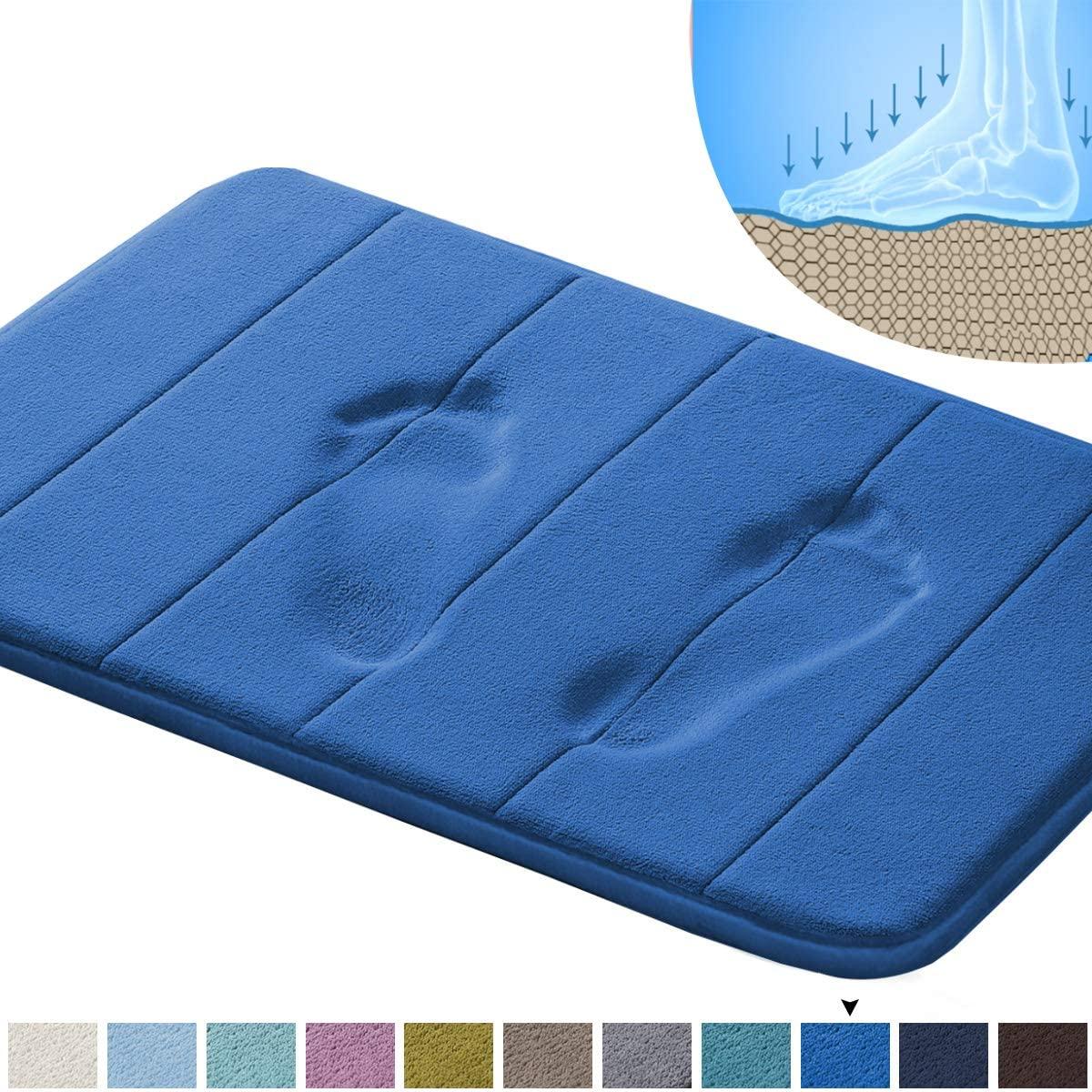 Memory Foam Bath Mat Non Slip Absorbent Bathroom Mat Super Cozy Velvety Bathroom Rug Carpet (Royal Blue Striped Pattern 20x32-Inches)