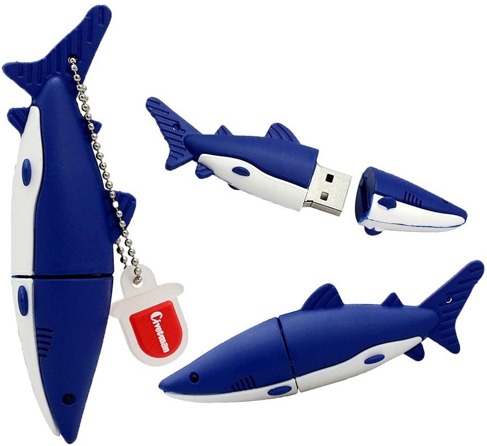 USB 2.0 Flash Drive 32GB Blue Shark Thumb Drive Cute Animal High Speed Novelty USB Storage