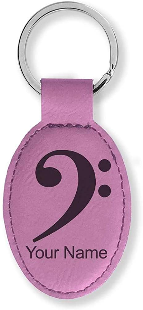 Faux Leather Oval Keychain, Bass Clef, Personalized Engraving Included