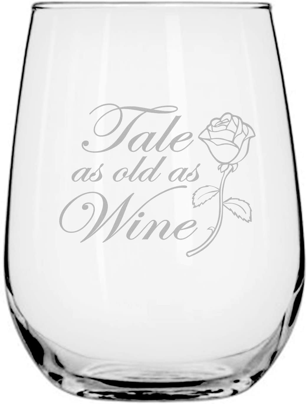 Beauty Beast Disney-Inspired Stemless Wine Glass | Princess Belle | Birthday | Housewarming | Wedding Registry | Anniversary Present | by Laser Etchpressions | Tale as Old as Wine