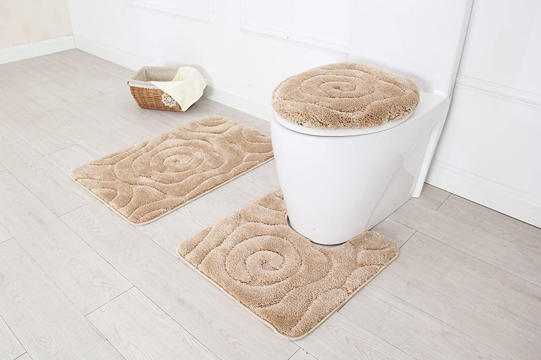 BH Home & Linen 3 Piece Luxurious Ultra Plush Prestige Bath Rug Set. Bath Rug 19.5