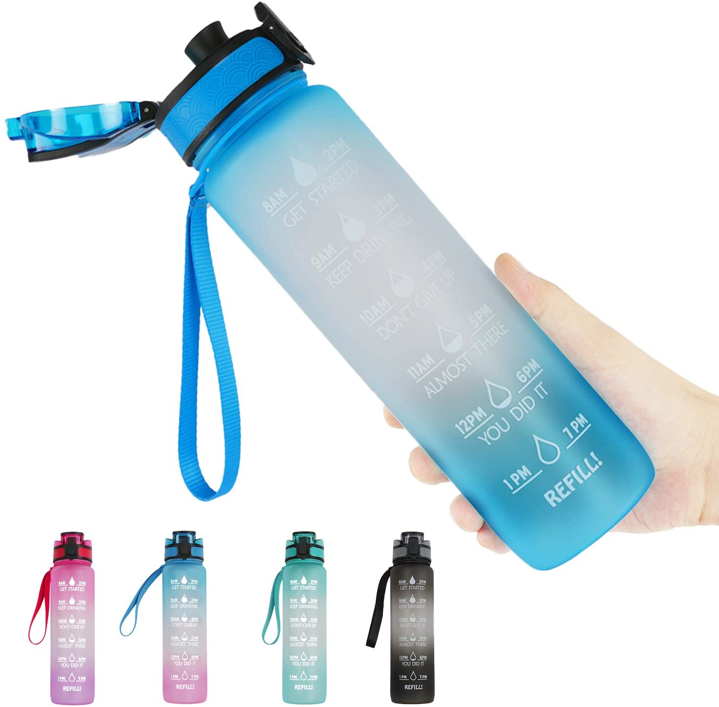 32oz Large Motivational Sports Water Bottle Wide Mouth with Time Marker & Infuser Filter Leakproof BPA-Free Tritan Frosted Drinking Water Bottle for Gym Fitness Hiking Running Outdoor Kids School
