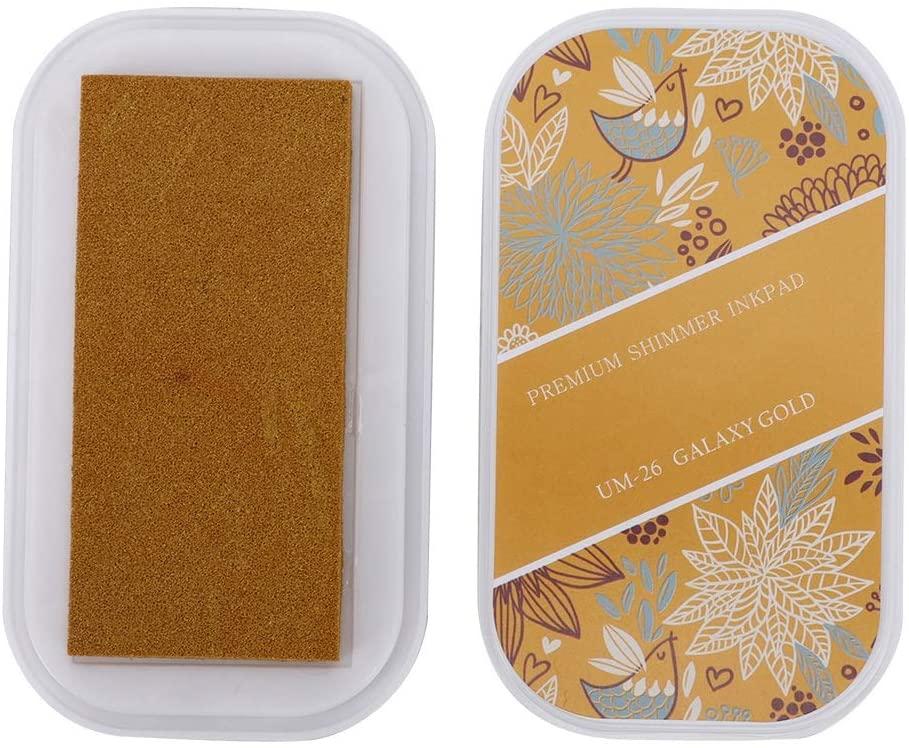 Maxmartt Ink Pad Metal Color Large DIY Hand Craft Rubber Stamp Schedule Book Ink Pad(Rocket Golden Red)