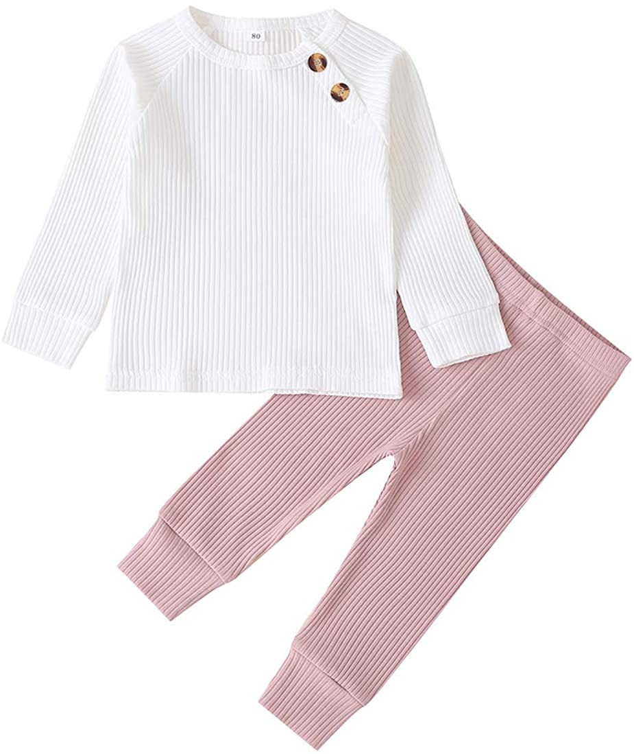 Infant Knitted Outfits Baby Girl Long Sleeve Ribbed Shirts Top + Solid Color Shorts Pants 2PCS Fall Clothes Sets