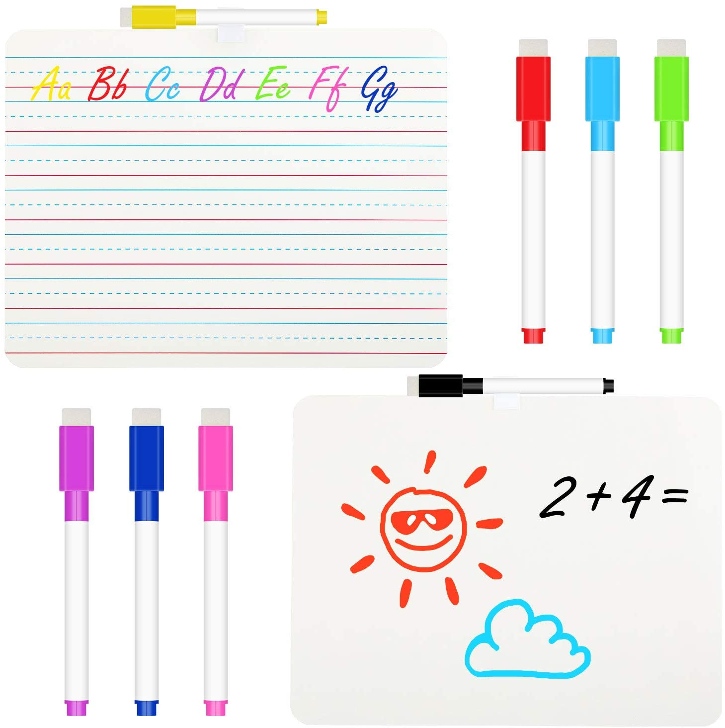 2 Pieces Ruled Lap Boards Dry Erase Boards Double Sided Dry Erase Whiteboards with 8 Pieces Color Mixed Erasable Pens for Students Teachers Classrooms Supplies and Home Studying