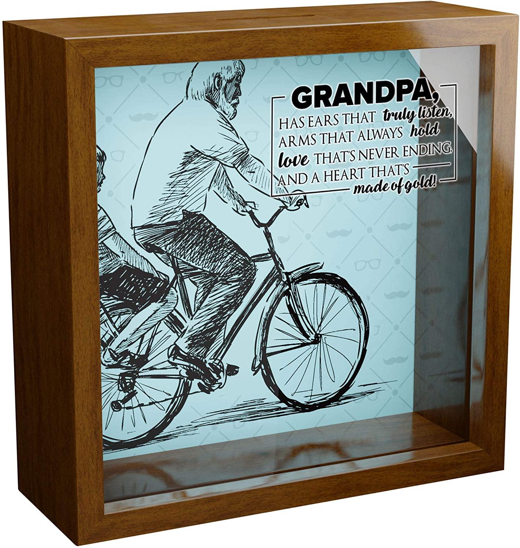 Grandpa Gifts | A 6x6x2 Themed Shadow Box for Grandpas | Grandfather Keepsake Picture Frame Box | Papa Present Ideas from Grandchildren | Grandpa Birthday Gifts | Inspirational Grandparent Home Decor