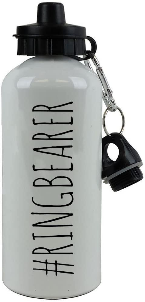 CustomGiftsNow #Ringbearer - 20-Ounce 600ML White Aluminum Water Bottle, Black