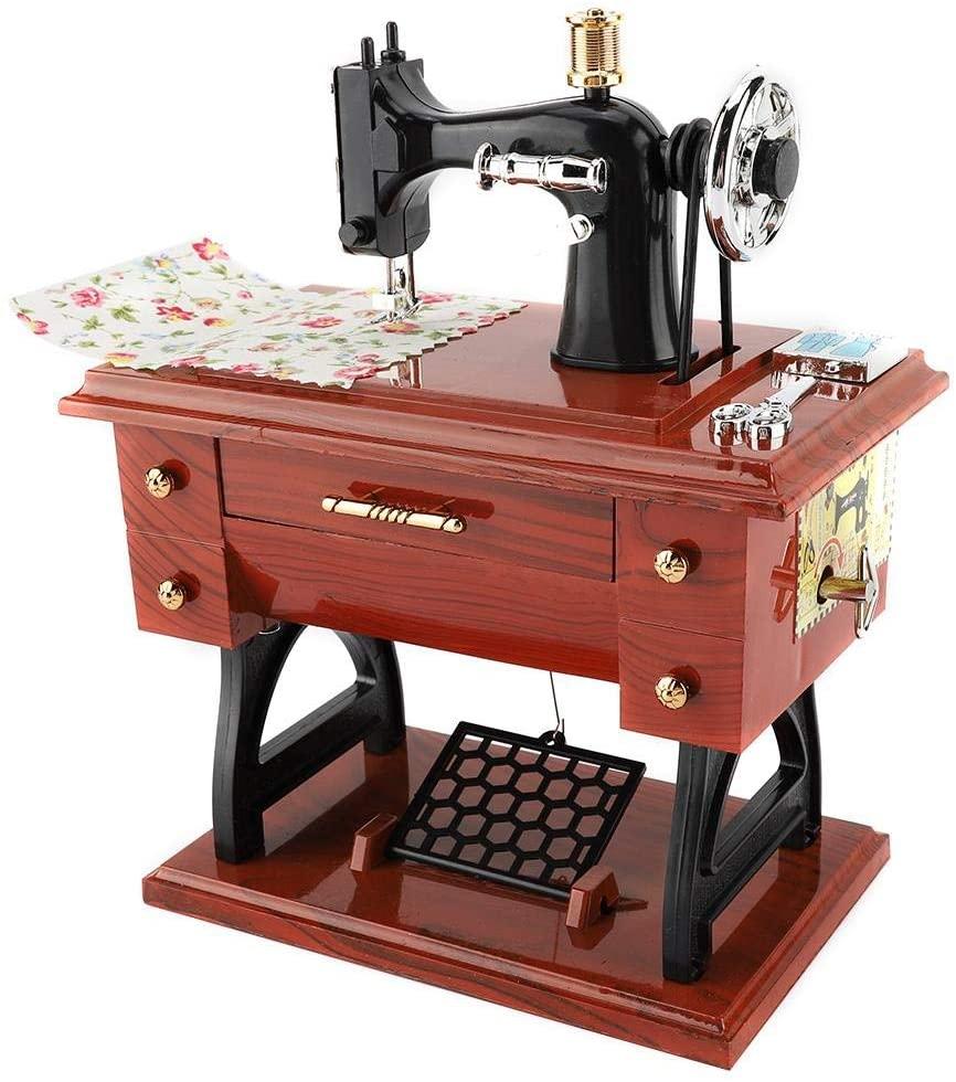 Taidda Mini Sewing Machine Retro Music Box, Desktop Sewing Machine Style Music Box Collection Anniversary Birthday Gift Table Decor