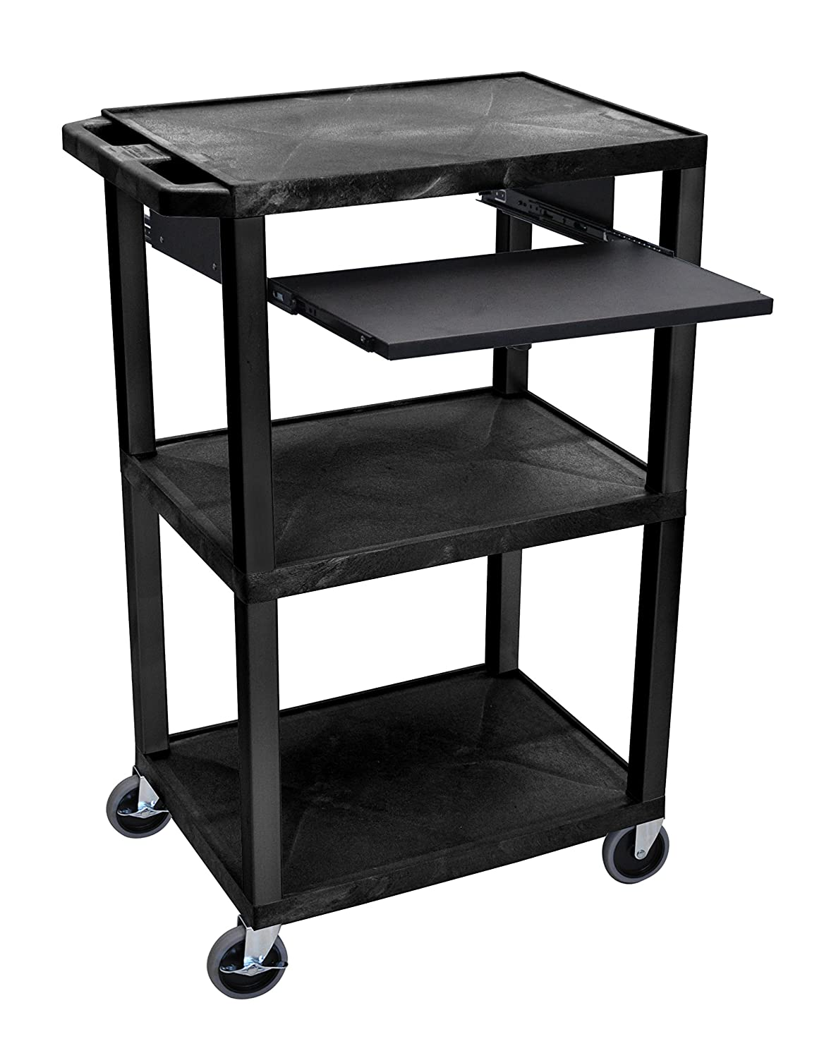 H WILSON WTPS42E-B Presentation Cart with Open Shelves and Pull Out Tray, Black