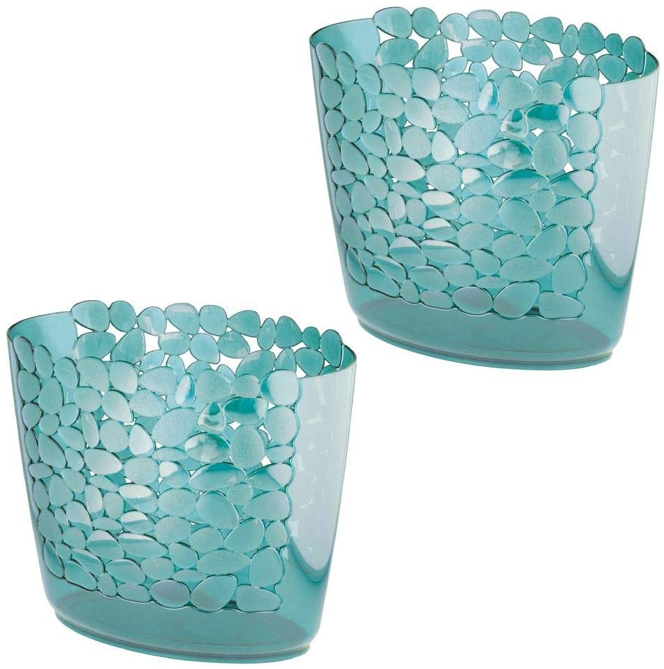 mDesign Decorative Oval Trash Can Wastebasket, Garbage Container Bin for Bathrooms, Powder Rooms, Kitchens, Home Offices - Pebble Design, 2 Pack - Blue