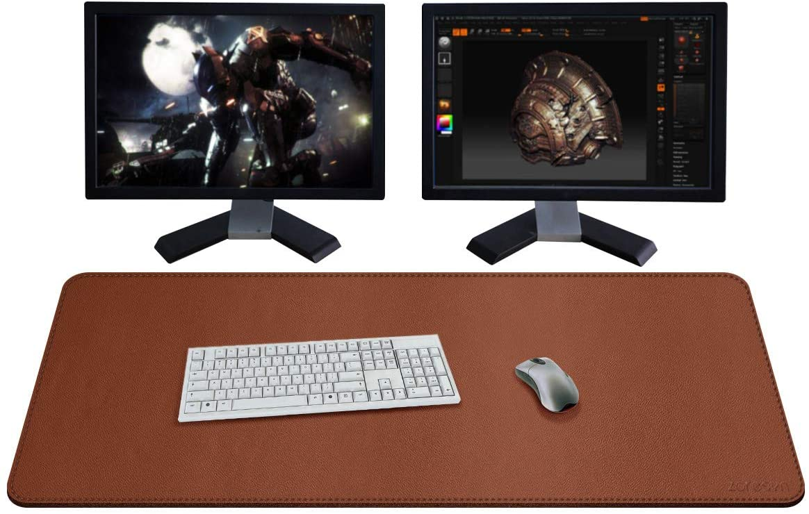 ZORESYN XXL Large Mouse Pads (43x20) - PU Leather Extended Large Gaming Mousepad Desk Mat - Nonslip Base and Waterproof Desktop Keyboard Extended Mouse Mat (Light Brown, XX-Large)