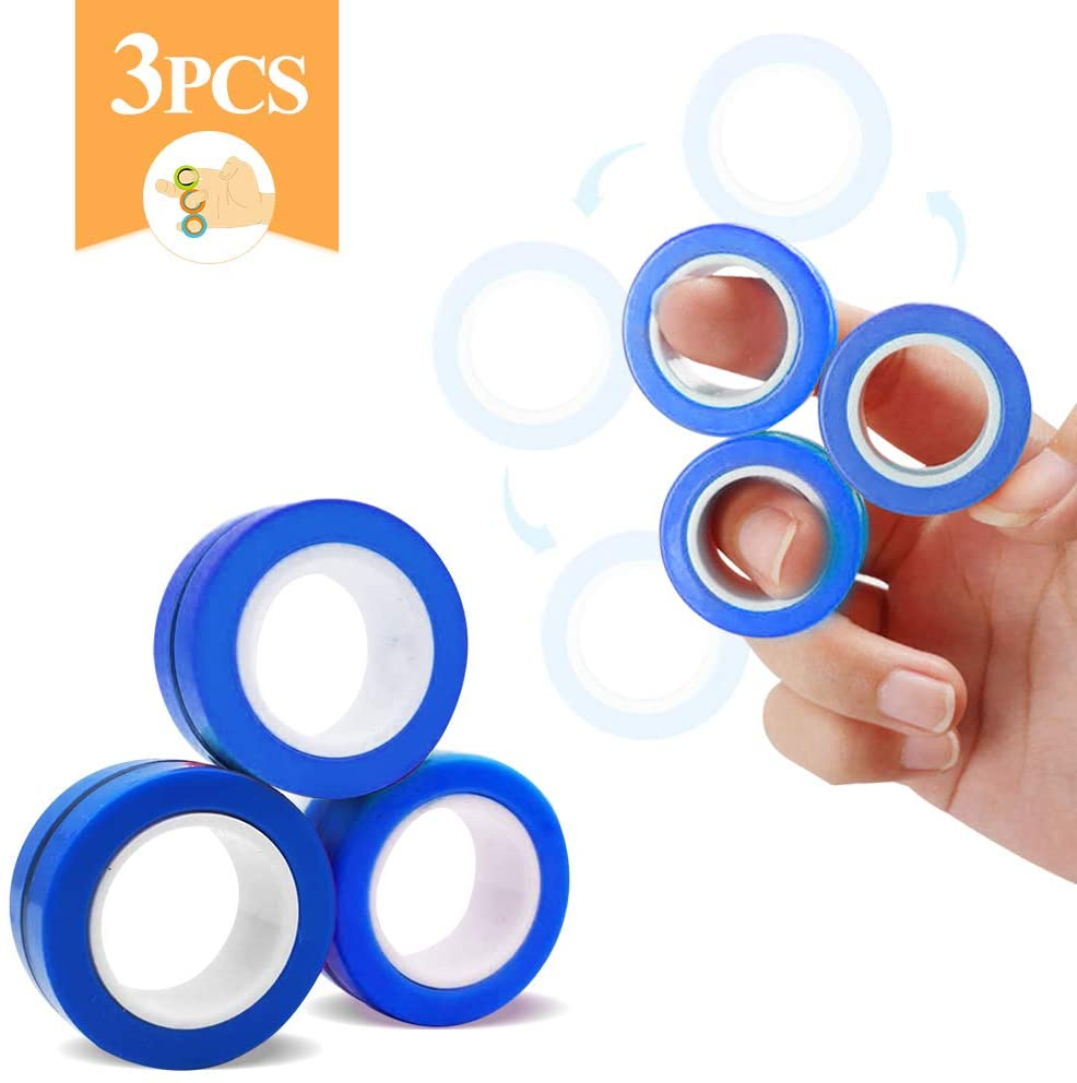 HOAU 2020 Update 3pcs Magnetic Ring, Fidget Spinner Toys, Magnetic Fingertip Toys, Finger Magnetic Ring, Magic Toy, Stress Relief Magic Bracelet Ring Decompression Unzip Toy (Blue megnetic Rings)