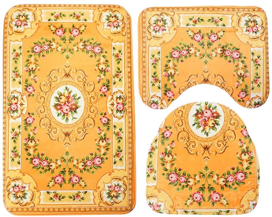 ESUPPORT Bathroom Mat Set 3 Pieces Soft Comfort Polyester Bath Rug, Non Slip Absorbent Toilet Lid Cover, U Shaped Contour Rug, Classical Yellow Floral