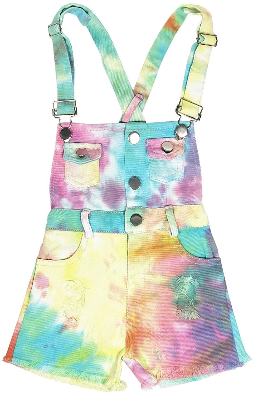 3-8T Little&Big Kids Girls Jumpsuit&Rompers Bib Overalls Colorful Tie-dye Shortalls Suspender Shorts Jeans Pants