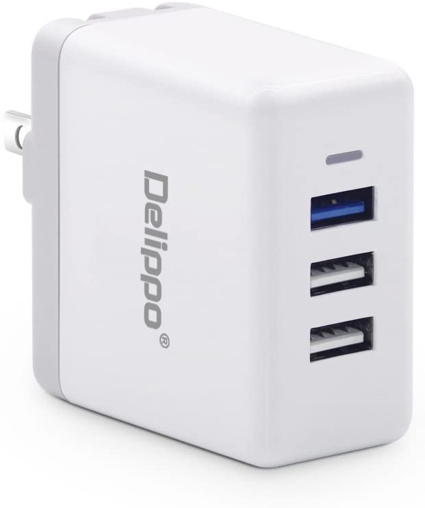Quick Charger 3.0 Delippo 3 Ports USB Fordable Plug Wall Adapter Charge for Galaxy S7 / S6 / Edge, Note 5/4, LG5, Nexus 5X / 6P HTC/Huawei/iPad and More
