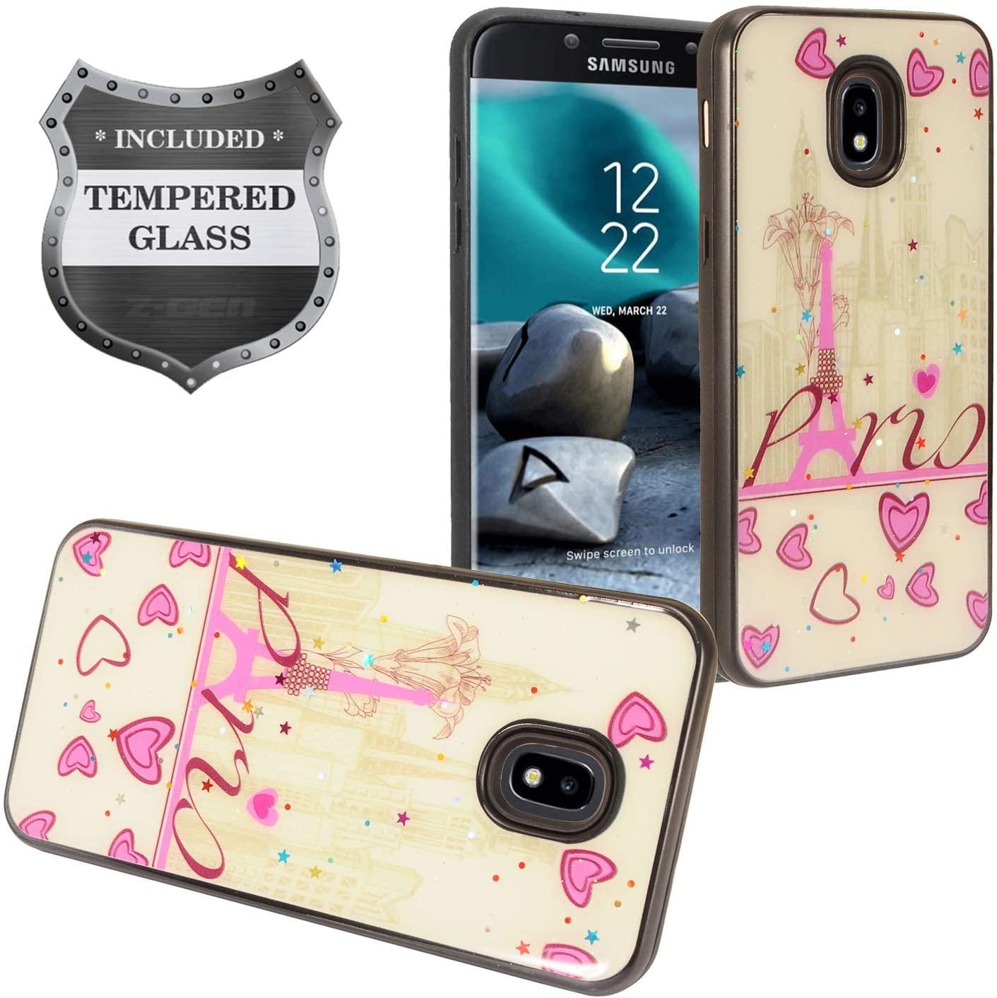 Z-GEN - Galaxy J7 2018, J7 Refine, J7 Star, J7 Crown, J7 Aura, J7 Top, J7 V J7V 2nd Gen J737 - Hybrid Image Phone Case for Samsung + Tempered Glass Screen Protector - DJ1 Heart/Tower