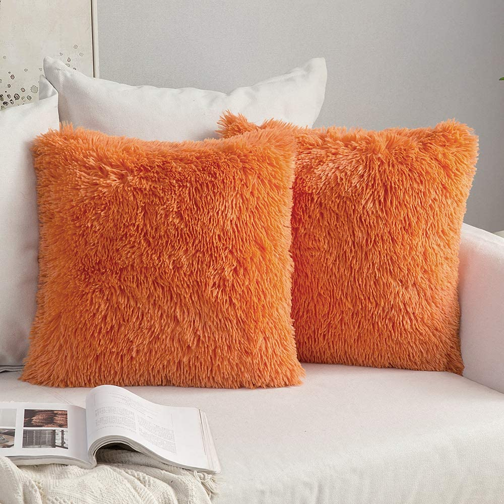 MIULEE Pack of 2 Luxury Faux Fur Fall Throw Pillow Cover Deluxe Decorative Plush Pillow Case Cushion Cover Shell for Sofa Bedroom Car 18 x 18 Inch Orange