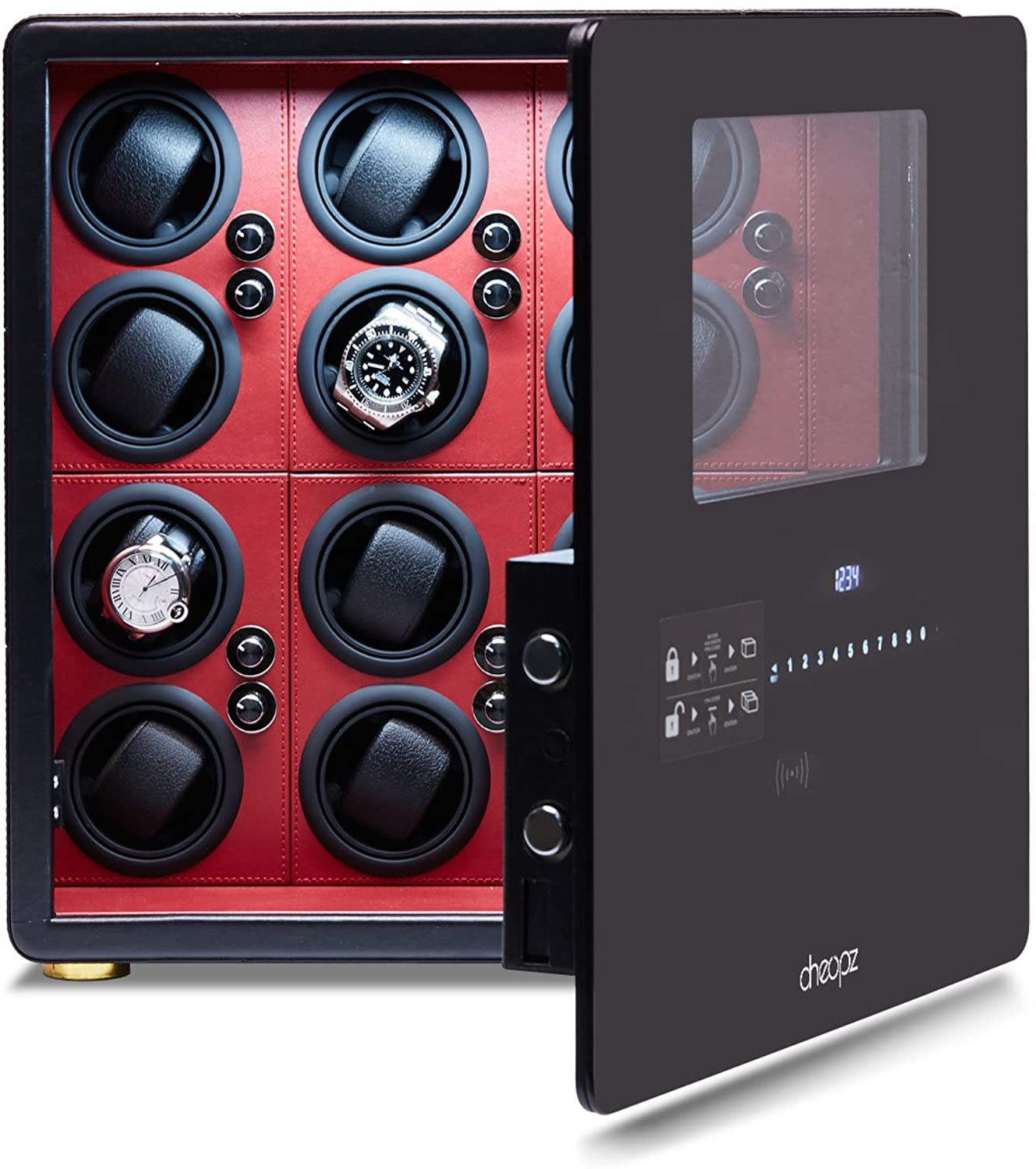 Cheopz Safe Watch Winder Box for 12 Automatic Watches with Dual Digital & Card Key Lock Security