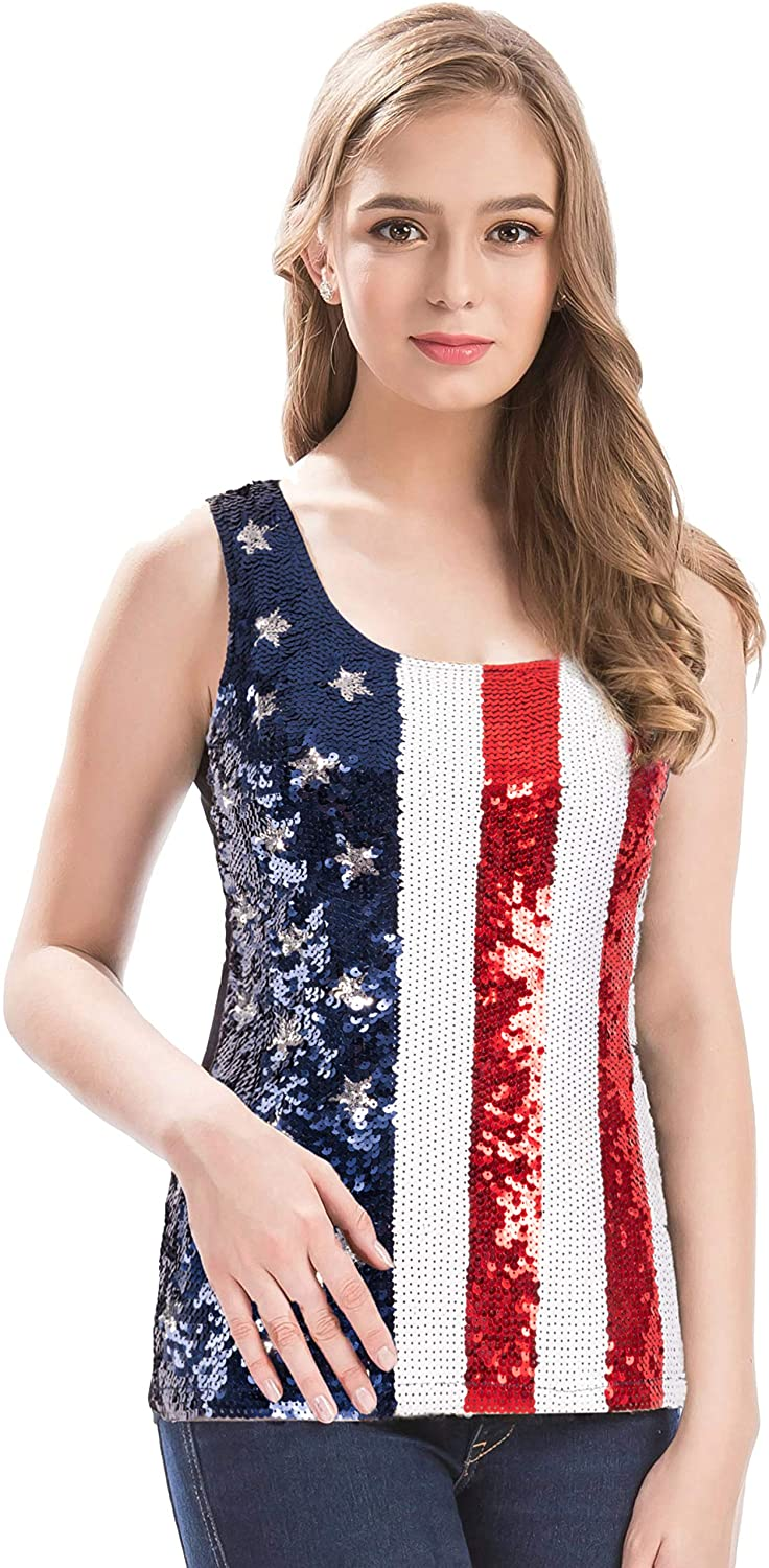 MANER Womens Sequin Tank Top American Flag Glam Butterfly Vest Tops