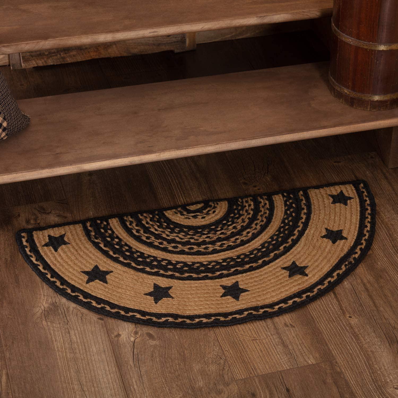 Classic Country Primitive Flooring - Farmhouse Jute Black Stenciled Stars Half Circle Rug