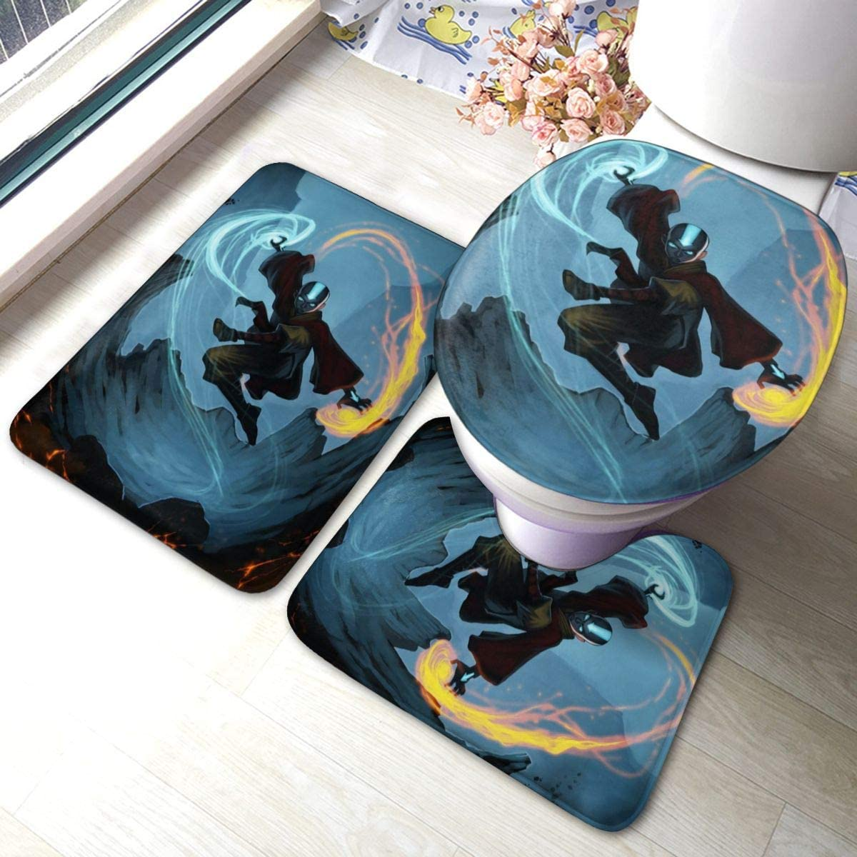 The Last Legend Airbender Bathroom Rugs Set Rubber-Backed Non-Slip 3 Piece Toilet Set Durable Bathroom Mats, Non-Slip Bathroom Floor Mat+ U-Shaped Toilet Mat + Toilet Seat Cover