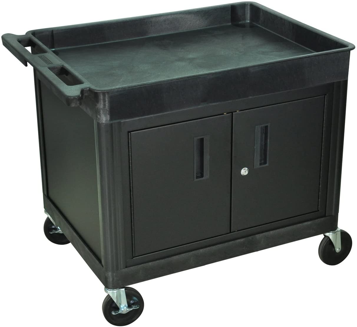 Offex Tub Top Shelf Multipurpose Rolling Utility Cart with Cabinet for Home, Office, Garage, Warehouse, Shops, Cafes- Green