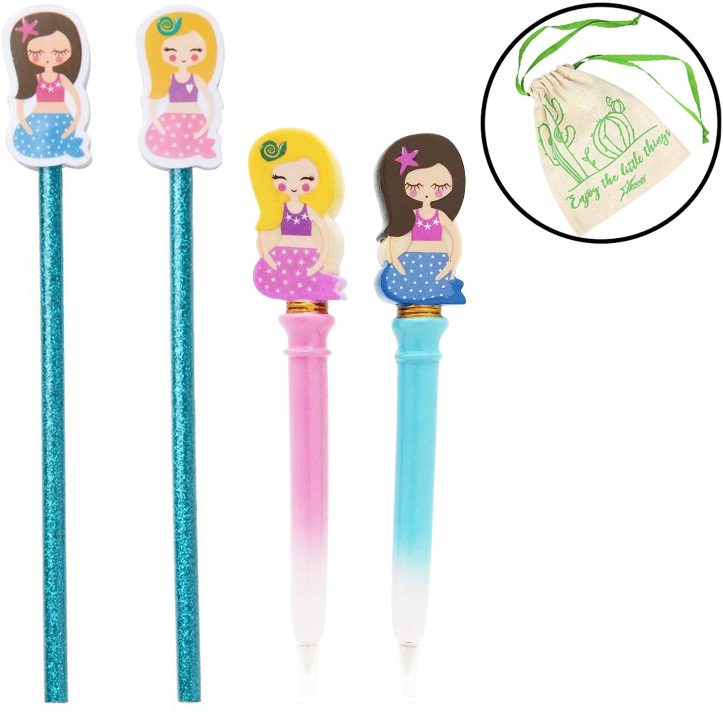 Streamline Mermaids Writing Set, Includes 2 Glitter Pencils with Mermaid Eraser Toppers, and 2 Mermaid Pens