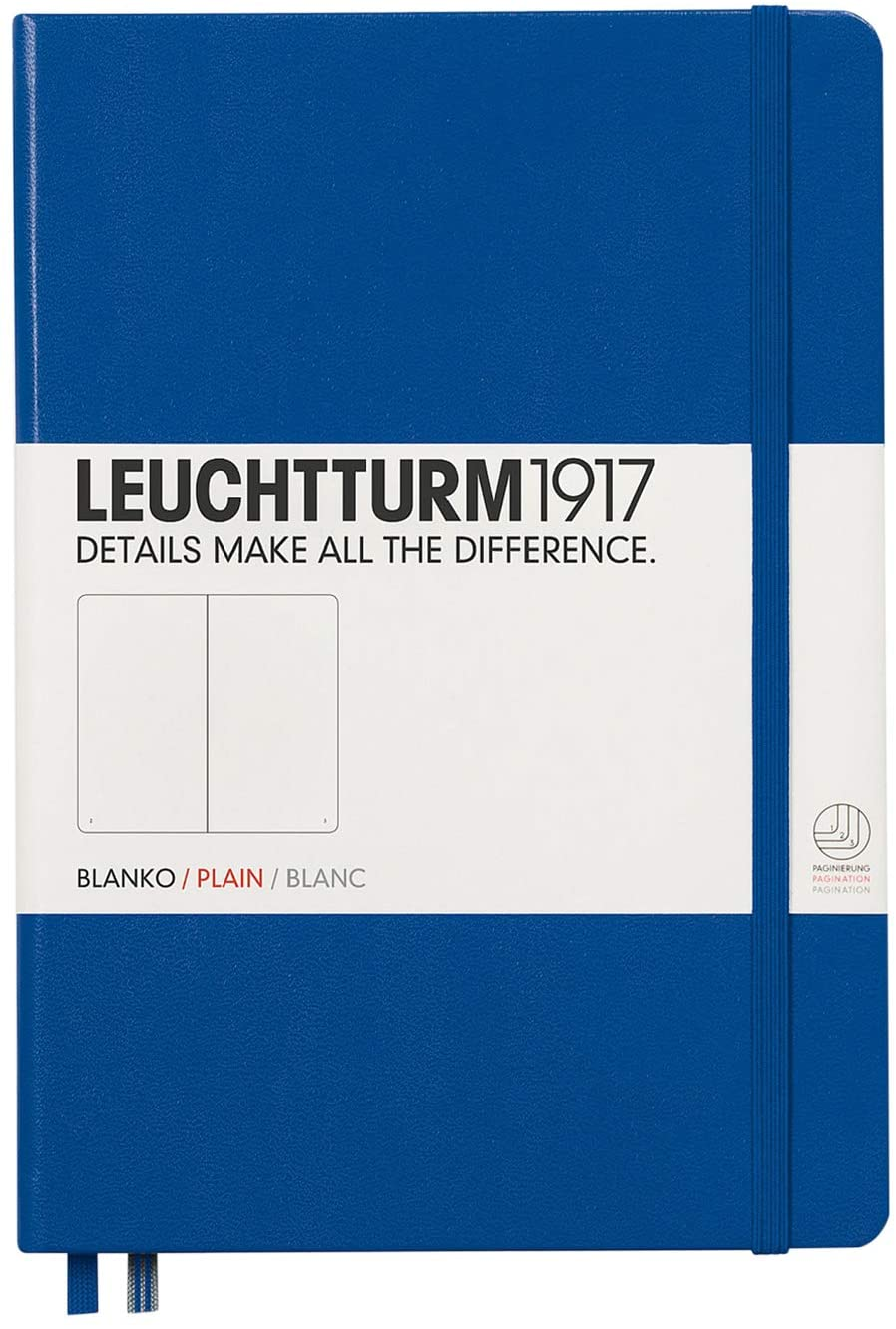 Leuchtturm1917 Medium A5 Plain Hardcover Notebook (Royal Blue) - 249 Numbered Pages
