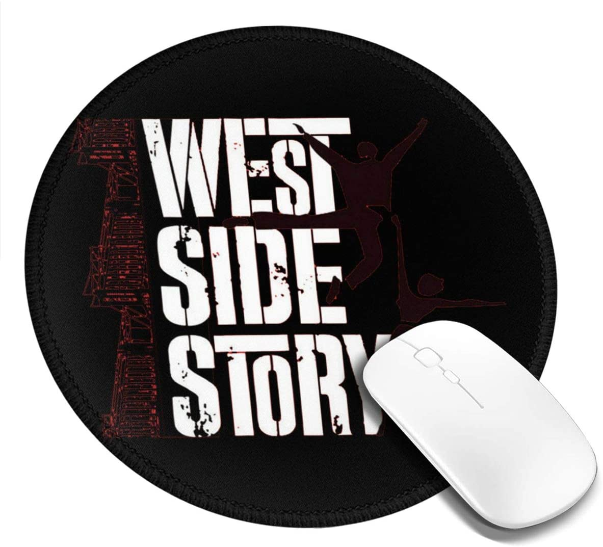 West Side Story Theater Printed Round Mouse pad, Office Desktop or Gaming Cloth Surface Natural Rubber Round Mouse Mat