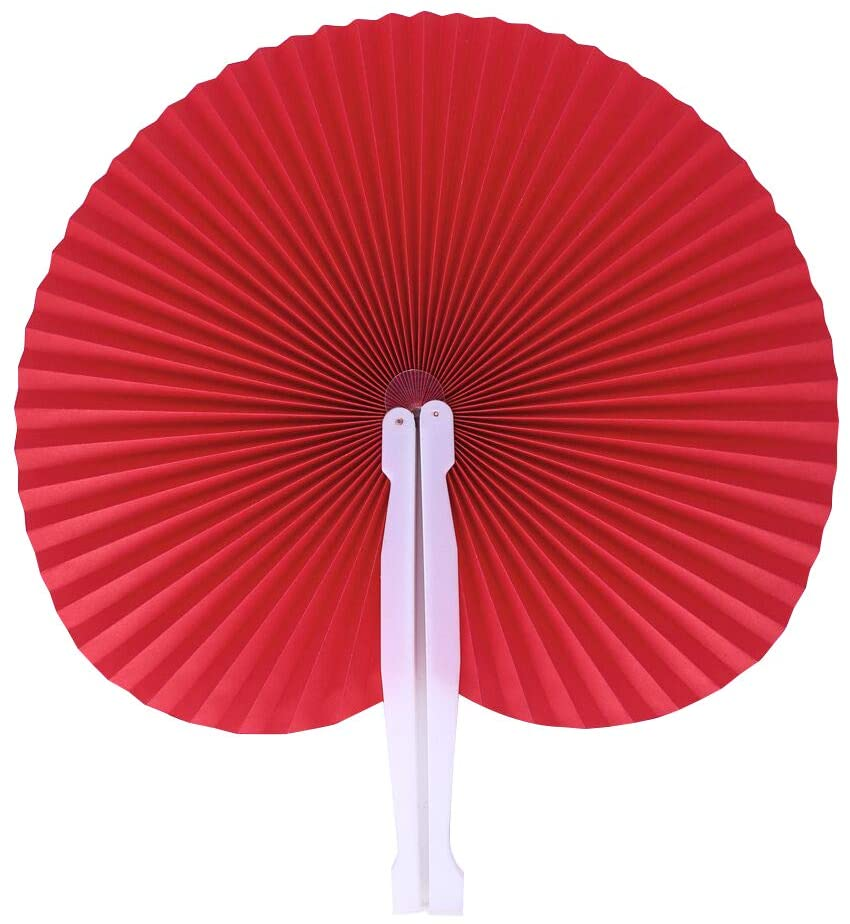 Bestage 20 Pack Red Round Shaped Handheld Folding Accordion Paper Fans for Wedding Birthday Party Favor Kids Gifts