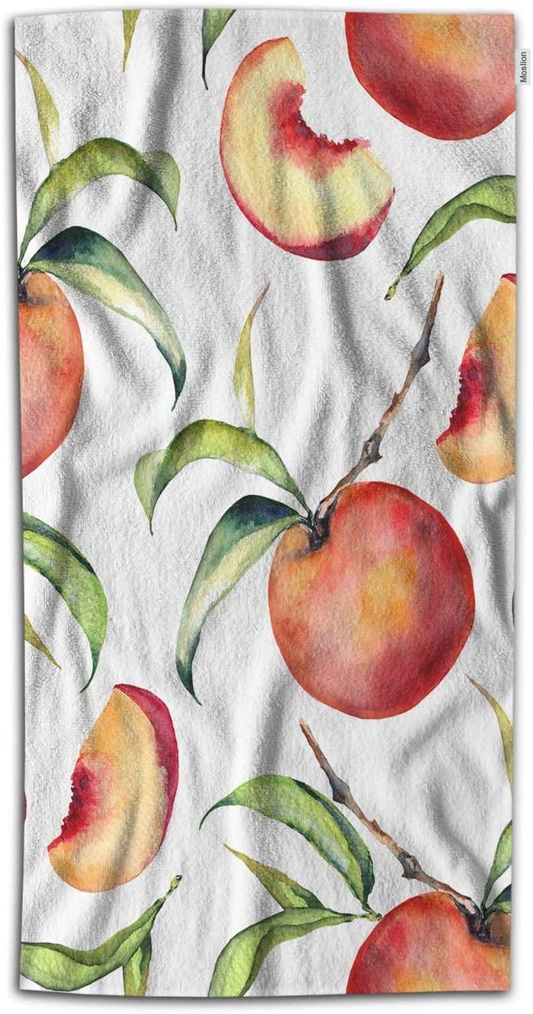 Moslion Peach Bath Towel Sweet Fruit Pink Fresh Peaches Slice Green Leaves Towel Soft Microfiber Face Hand Beach Towel for Women Bathroom 32x64 Inch Green