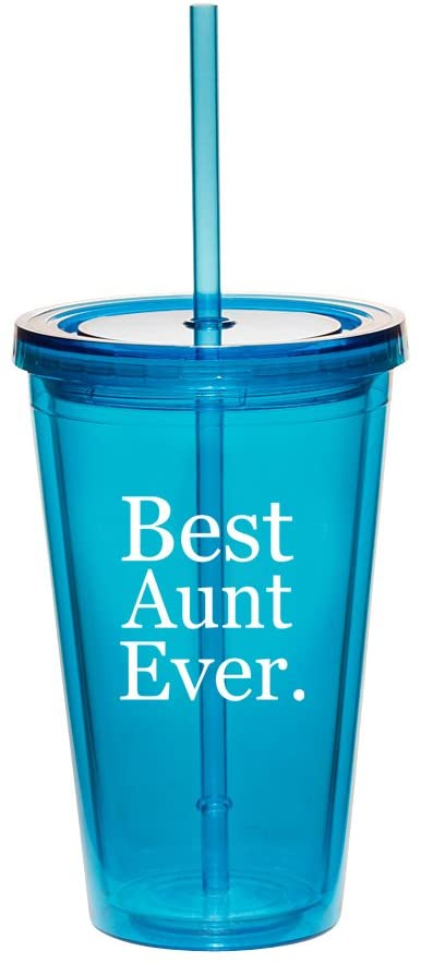16oz Double Wall Acrylic Tumbler Cup With Straw Best Aunt Ever (Light-Blue)