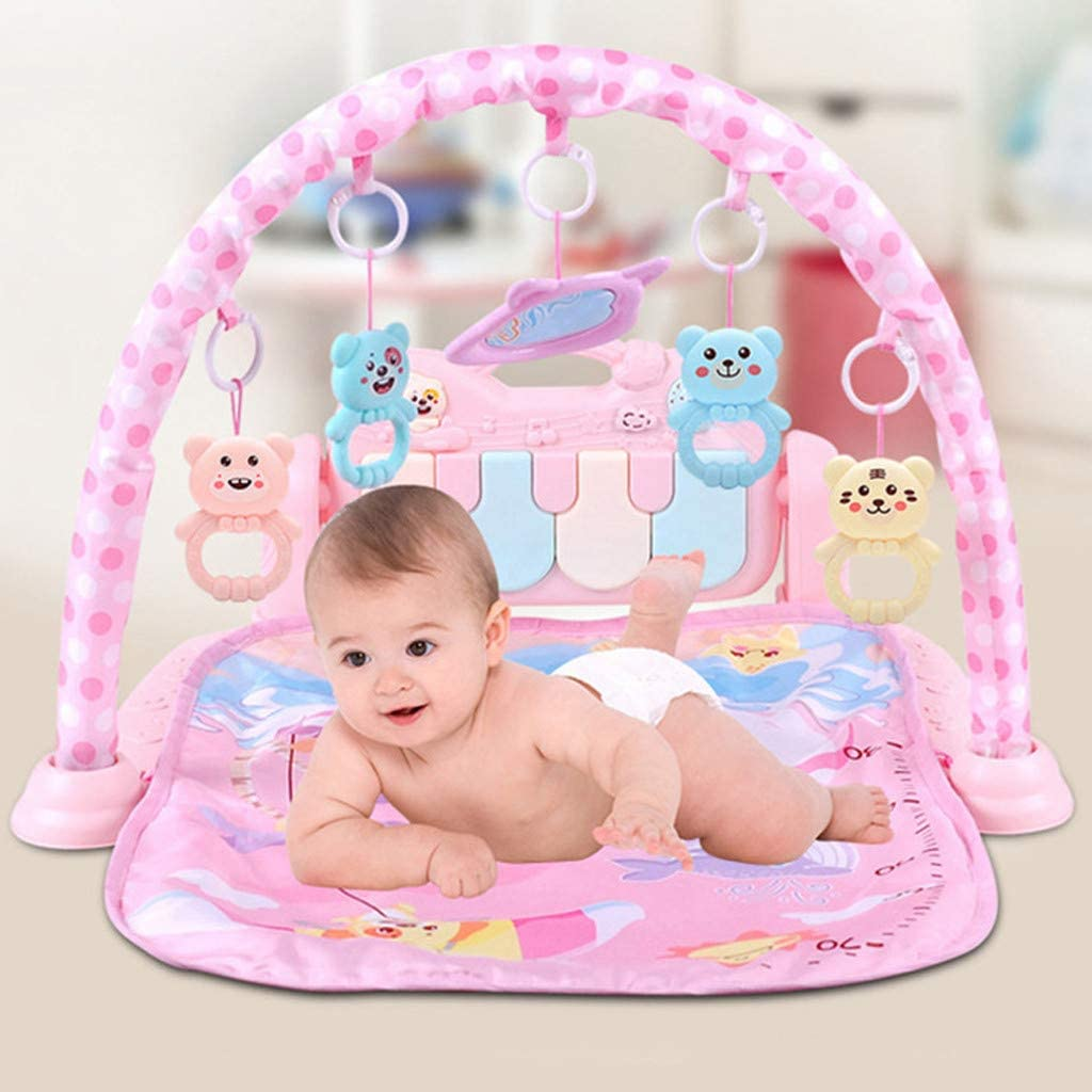 HapChildhood Infant Pedal Piano Game Mat, Fitness Frame, 3-12 Months Baby Crawling Mat, Infant Activity Center (Pink)