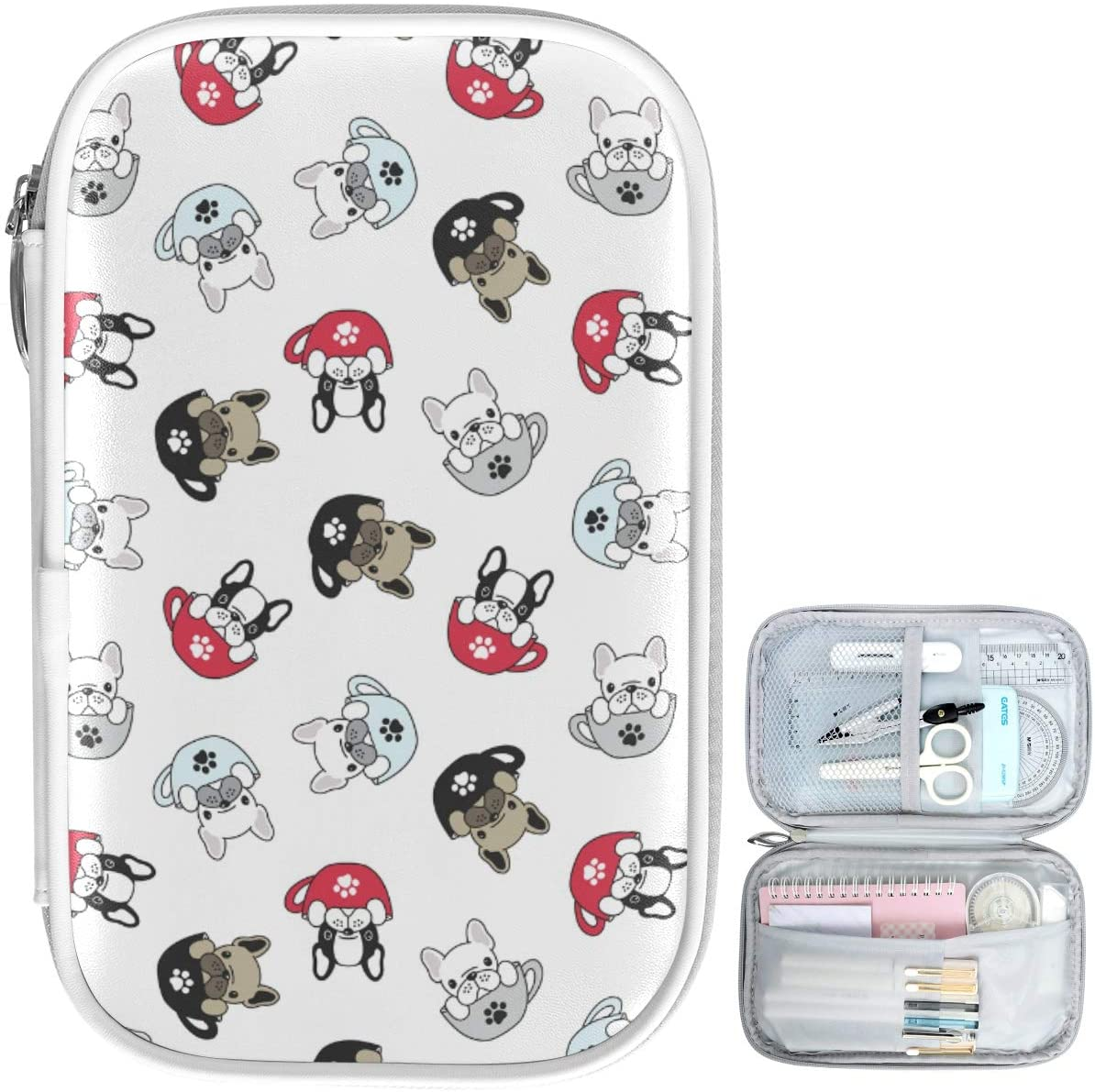 Oarencol French Bulldog Pug Cup Paw Pencil Case Cute Dog Puppy Zipper Pen Bag Large Capacity Cosmetic Pouch Stationery Box