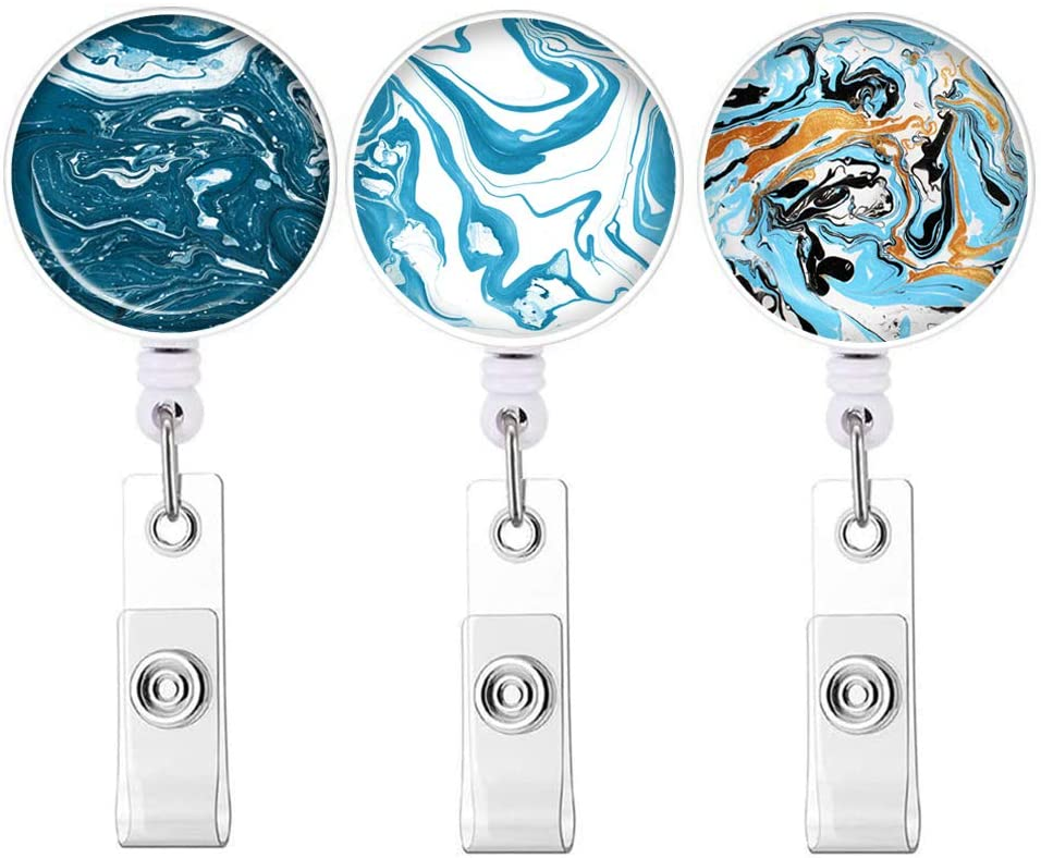 Marbling Abstract Series Badge Reel, Retractable ID Card Badge Holder with Alligator Clip, Name Nurse Decorative Badge Reel Clip on Card Holders 3 Pack