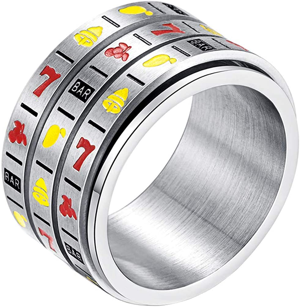 INRENG Men's Stainless Steel 14mm Wide Spinner Ring Band 3 Layers Spin Creative Slot Machine Pattern