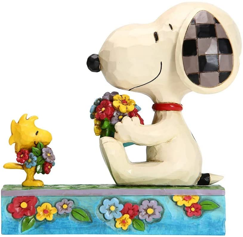 Enesco Peanuts by Jim Shore Snoopy Woodstock with Flowers