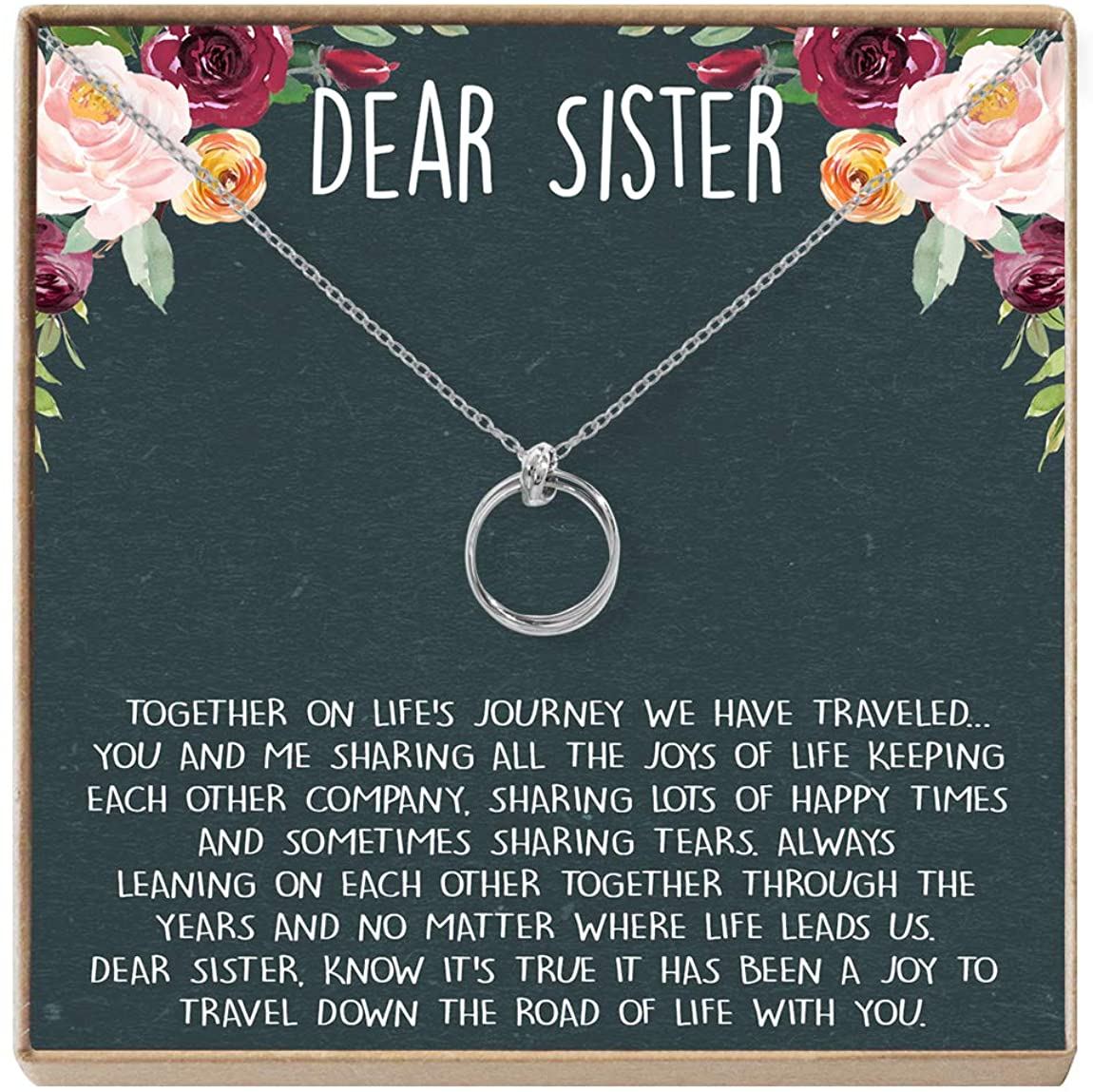 Dear Ava Sisters Gift Necklace: Sister Birthday Gift, Big Sister Gift, 2 Linked Circles