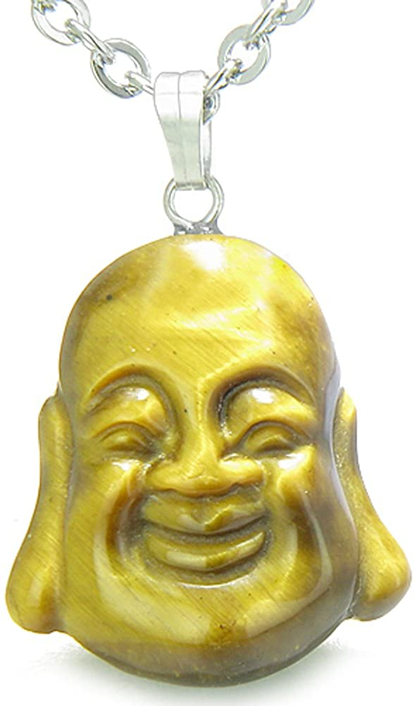 BestAmulets Amulet Happy Laughing Buddha Lucky Charm Tiger Eye Evil Eye Powers Pendant 22 Inch Necklace