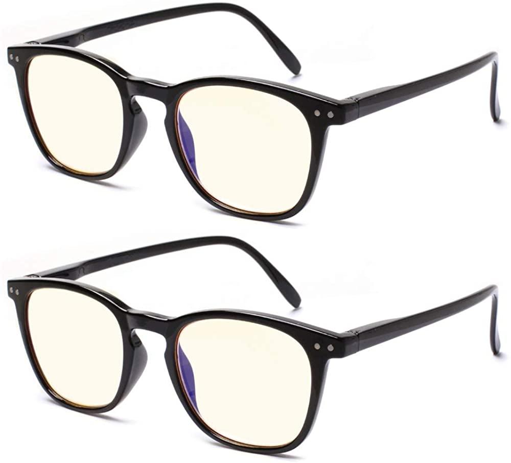 2 Pack Computer Reading Glasses Blue Light Blocking Glasses Men Women Anti Eyestrain Readers