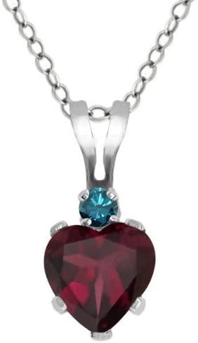 Gem Stone King 0.58 Ct Heart Shape Red Rhodolite Garnet Blue Diamond 925 Silver Pendant