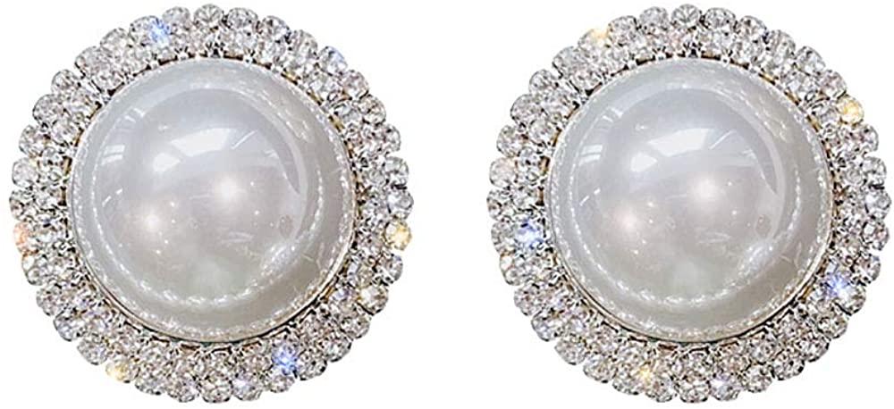 Denifery 925 Sterling Silver Dangle Earrings Big Pearls Drop Earrings Handmade Bohemian Statement Earrings for Women Girls Daily Party