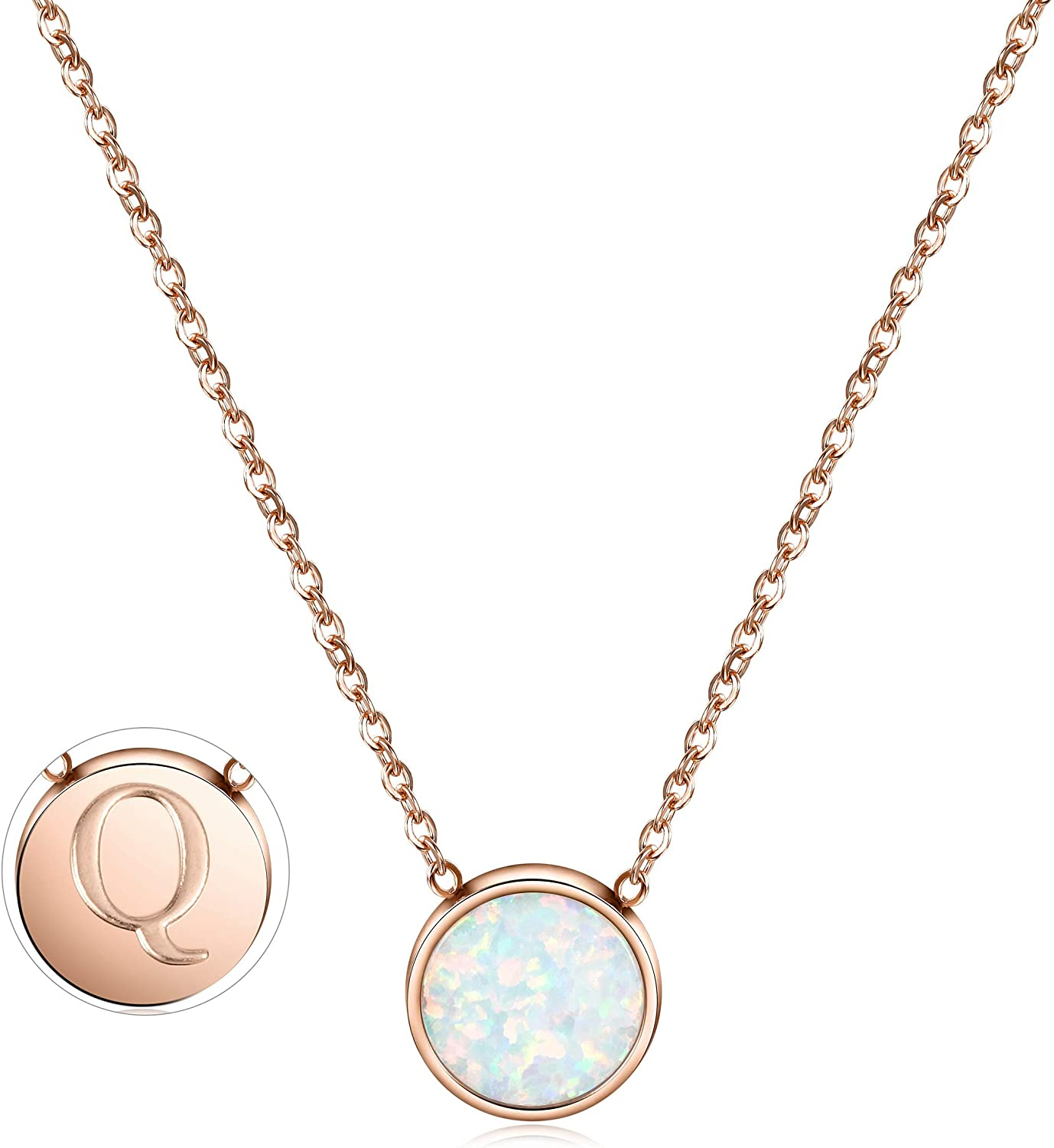 CIUNOFOR Opal Necklace Gold Plated Round Disc Initial Necklace Engraved Letter with Adjustable Chain Pendant Enhancers for Women Girls