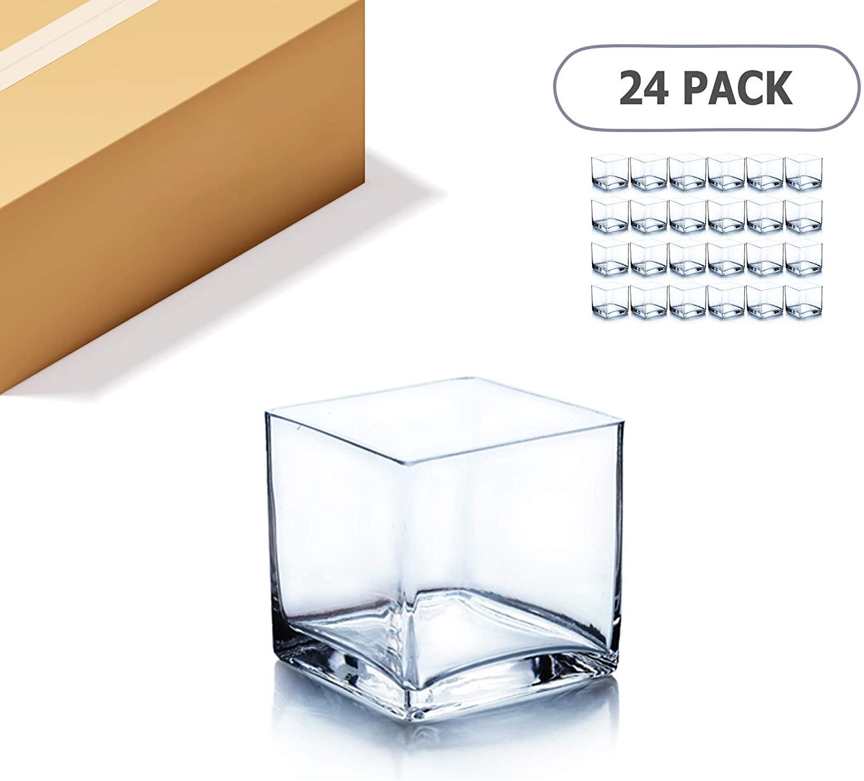 WGV Cube Glass Vase Bulk, Candle Holder, 3