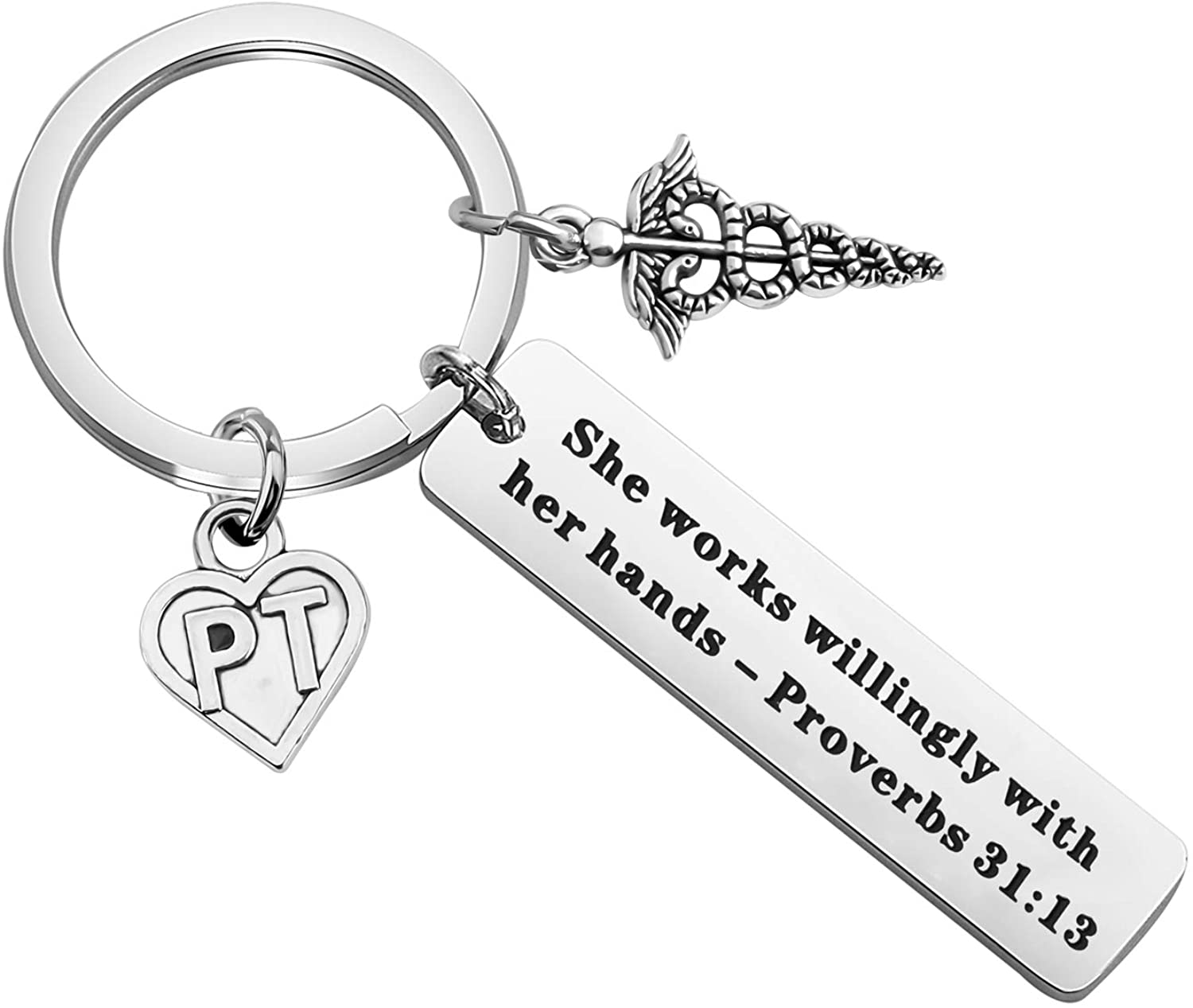 POTIY Physical Therapy Jewelry Physical Therapy Keychain Bible Verse Keychain PT Gift Religious Jewelry She Works Willingly with Her Hands PT Graduation Gift PT Assistant Gift