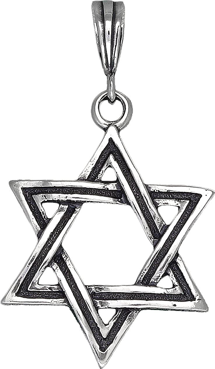 Sterling Silver Star of David Pendant Necklace Oxidized Finishing 24