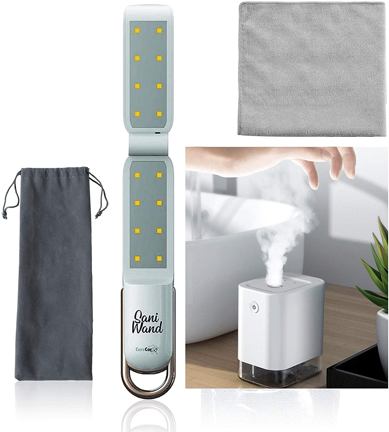 CureCorr Sanitizing Bundle/SaniWand Portable UV-C Wand, Ultraviolet Wand, Bundle With SaniTowel (Silver Infused Cleaning Towel), SaniMist (Automatic Alcohol and Sanitizer Dispenser) and DrawString Bag